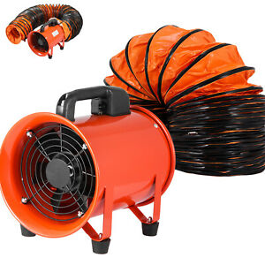 8 Extractor Fan Blower Portable 10m Duct Hose Exhaust Low Noise High Rotation