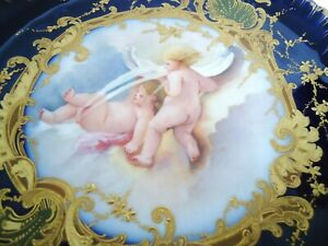 Marvellous Antique Porcelain Limoges Plate Hand Painted Blue Cobalt Sevres Baby