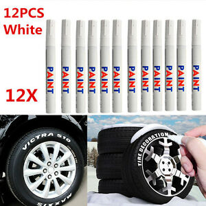12pcs White Waterproof Permanent Car Tyre Tire Tread Paint Marker Pen Tackle