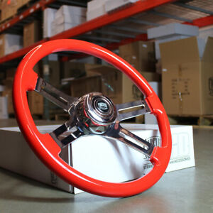 18 Big Rig Chrome Steering Wheel With Red Wood Grip And Traditional Horn Button