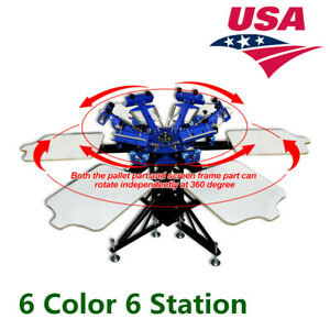 Usa 6 Color 6 Station Manual Silk Screen Printing Machine T shirt Equipment