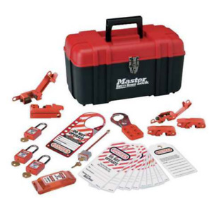 Master Lock Portable Lockout Kit Filled Electrical Lockout Tool Box Red