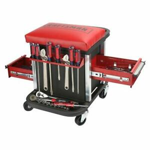 Garage Glider Rolling Tool Chest Seat Drawer Tool Box Stool