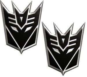 Transformer Decepticon Aluminum Black Silver Medium Emblems Gunmetal Pair 2