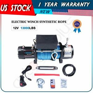 13000lbs 5897kg Electric Winch 3 8 86ft Synthetic Rope Towing Recovery 12v