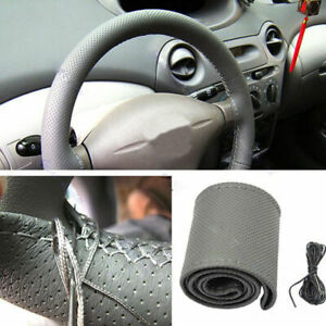 Diy Car Truck Leather Steering Wheel Cover With Needles And Thread Gray Us
