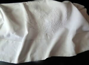 Vintage Linen French Bed Sheet With Embroidered Monogram