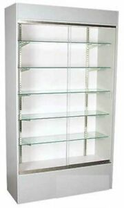 Five Adjustable Glass Shelves Gray Wall Unit Display Case 84 H X 18 D X 48 L