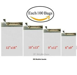 400 Combo Poly Mailers Envelope Each 100 6x9 9x12 10x13 12x16 St Shipmailers