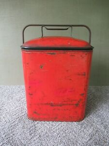 Antique Cooler Vintage Tin Metal Ice Chest Box Original Red Paint 13 1 2 X 11