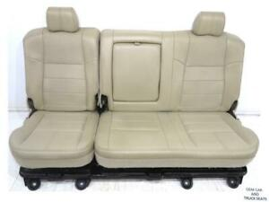 Ford Super Duty F250 F350 Tan Leather Crew Cab Rear Seat W Tray 2008 2009 2010