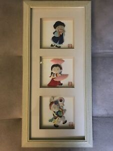 Chinese Art Framed Picture Paper Silk Dolls Signed Stamped