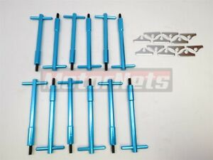 Sb Ford Blue Billet Tall T Bar Valve Cover Hold Down Kit Sbf 289 302 351w Bolts
