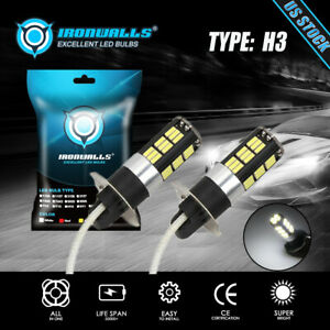 Ironwalls H3 Led Fog Light 100w Super Bright Car Driving Light White Bulbs 6000k