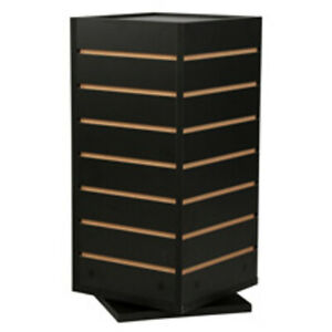 Rotating 4 Sided Slatwall Counter Display In Black 12 W X 12 D X 23 1 2 H