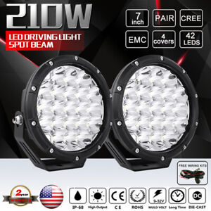 2pcs 380w 7inch Cree Led Driving Work Lights Round Combo Beam Truck 4wd Jeep