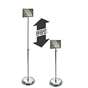 Clear Acrylic Pedestal Sign Holder Stand W Adjustable Metal Pole 7 w X 5 5 h