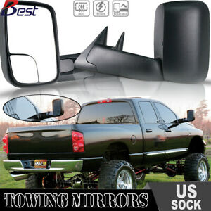 Towing Mirrors Pickup Flip Up Power Heated Fits 1998 01 Dodge Ram 1500 2500 3500