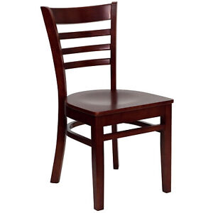 Flash Furniture Mahogany Finished Ladder Back Wooden Restaurant Chair
