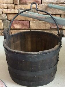 Antique Country Black Staved Wood Water Well Bucket Iron Bands