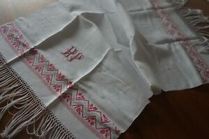 Vintage French Xl Large Huckaback Linen Tea Towel Table Runner Monogrammed Hp