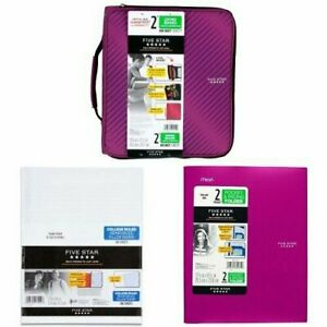 Five Star 2 Inch Zipper Binder 3 Ring Binder 6 pocket Expanding File Durab