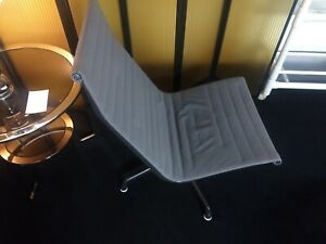 Mid Century Herman Miller Eames Aluminum Group Fabric Lounge Chair And Ottoman
