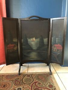 Antique Trifold Hand Painted Early Folk Art Wooden Fire Screen