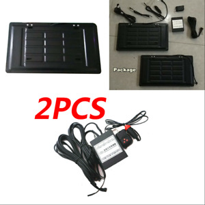 2x Us Front Rear Hide away Shutter Cover Up Electric Stealth License Plate Frame