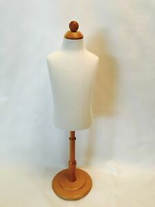 Dress Form Mannequin Wht 6mos child kid Foam Fabric Body Wood Top Base Stand