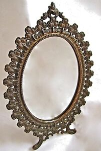Antique 30 S Vanity Stand Mirror Cast Iron Oval W Easel Robert Emig 1501