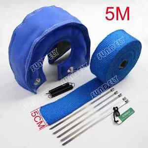 T3 Blue Out Lava Turbo Blanket 5cm X 5m Exhaust Header Heat Pipe Wrap Tape New