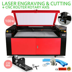 100w Co2 Laser Engraving Machine Rotary A axis Engraving Air Assist Cutting