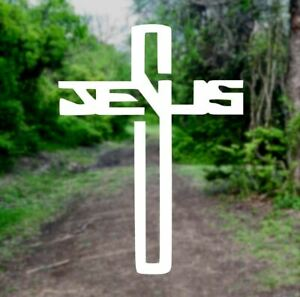 Jesus Cross Pick Color Christian Vinyl Decal Sticker Laptop Car Truck Window