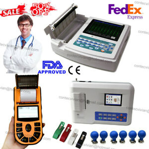 Us Seller digital 1 3 12 channel 12 lead Ecg ekg Machine Electrocardiograph fda