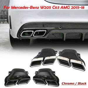 Exhaust Muffler Pipe Dual Tips Tail For Mercedes Benz C Class W205 C63 Amg 15 18