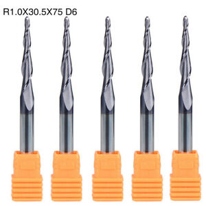 End Mills R1 0 30 5 d6 Set Kit Part Solid Tungsten Carbide Tapered Accessories