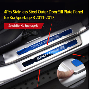 4 X Stainless Steel Outer Door Sill Scuff Plate Guard For Kia Sportage R 2011 17