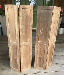 Antique Vintage Pair Of Wooden Interior Window Folding Shutters Rustic
