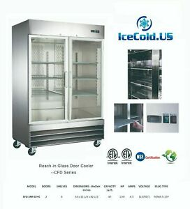 2 Reach in Glass Two Door Commercial Refrigerator Cfd 2rrg e hc Cooler