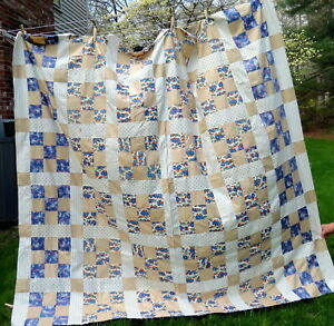 Vintage Quilt Top Handmade Hand Sewn 1930s Unfinished Quilt 80 X 76 9 Block