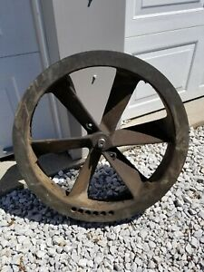 Large 26 Antique Cast Iron Industrial Steam Punk Machine Belt Fly Wheel