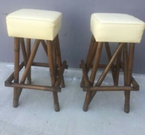 Pair Of Mid Century Tiki Rattan Bamboo Bent Wood Unique Bar Stools