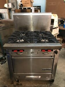 Used Garland 4 Burner Commercial Range Oven Stove Combo Natural Gas