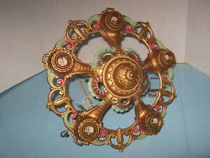 Vintage Art Deco Era Decorative Cast Metal Chandelier Ceiling Light Fixture