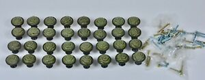 Lot 32 Vintage Olive Green Carved Soapstone Abstract Tiki Drawer Pulls Knobs