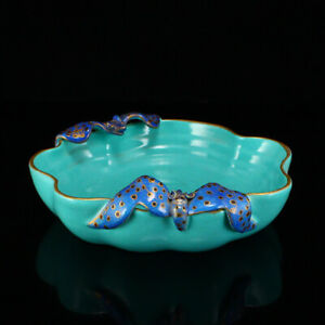 Beautiful Chinese Gilt Edge Turquoise Glaze Porcelain Brush Washer W Bats