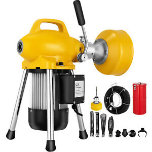 3 4 5 Dia Sectional Pipe Drain Auger Cleaner Cleaning Machine 400w Up To 100ft