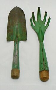 Set Of 2 Vintage Green Handle Garden Tools