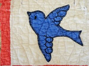 Antique 1890s 1900s Hand Made Appliqued Blue Bird Quilt Block Missouri Folk Art